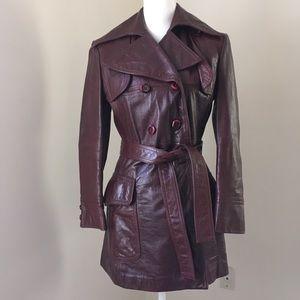 Vtg 70's Etienne Aigner Leather Belted Trench Coat